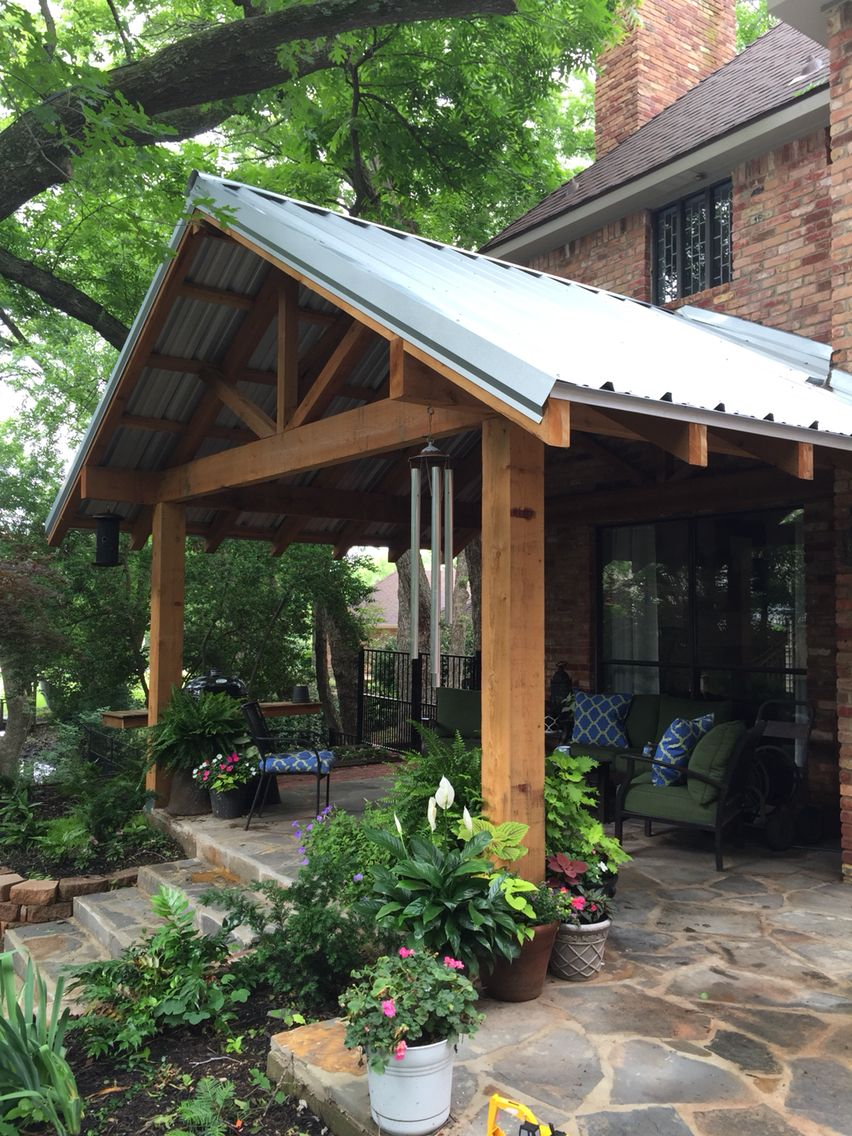 Patio addition with metal roof and cedar frame patio for Metal roof porch pictures
