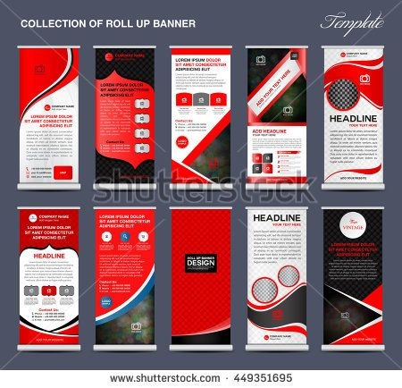 Collection Of Red Roll Up Banner Template Stand Display