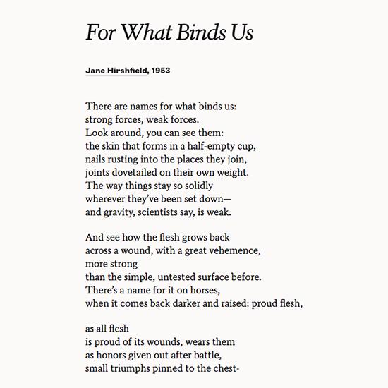 Jane Hirshfield - For What Binds Us