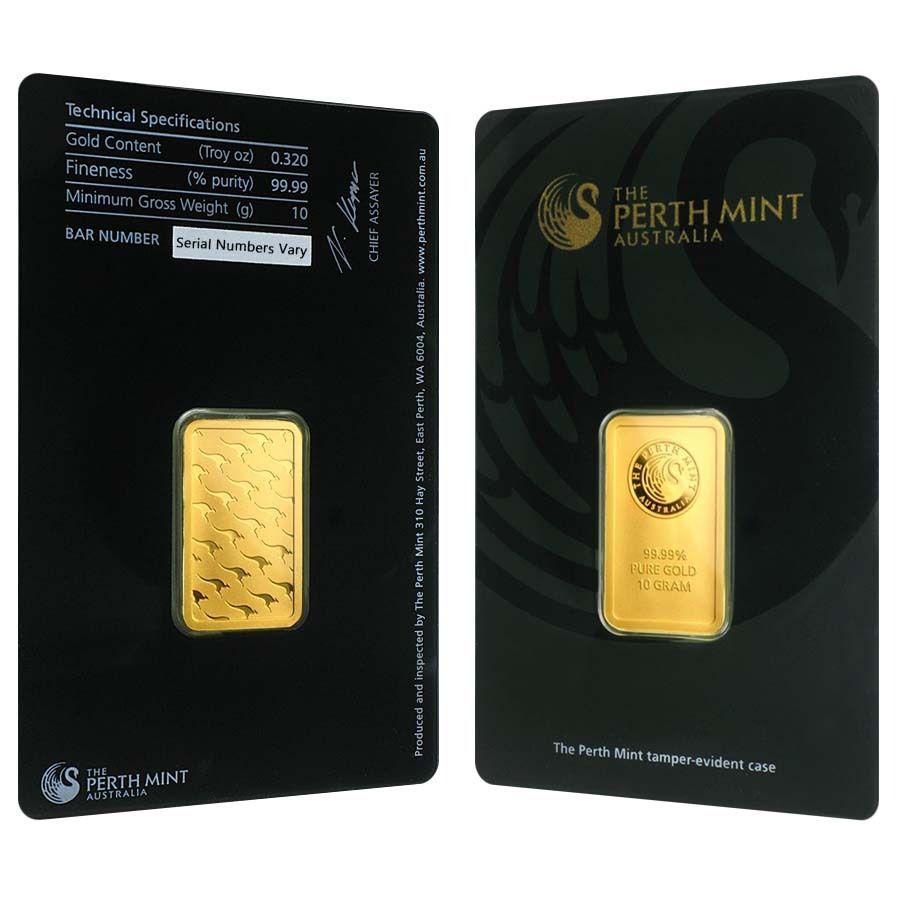 10 Gram Perth Mint Gold Bar 9999 Fine In Assay Mint Gold Gold Bar Mint Bar