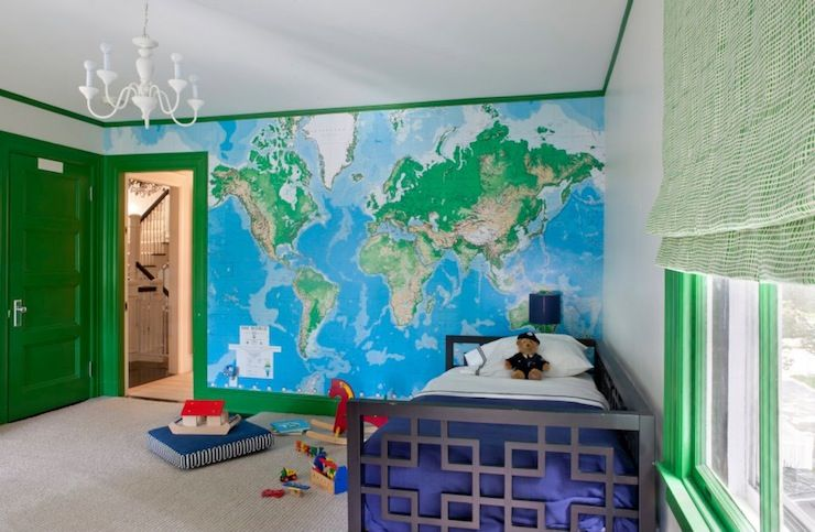 Fun Boys Room With Toys R Us World Map Mural Green Trim And Green - World map boys room