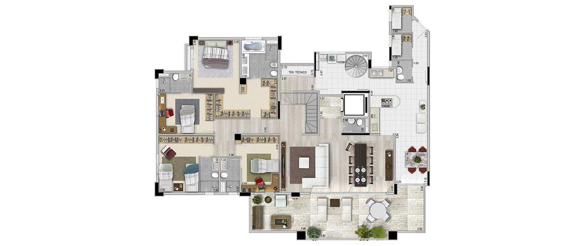 4 dorms - 476m²  Planta Inferior (4 suítes)