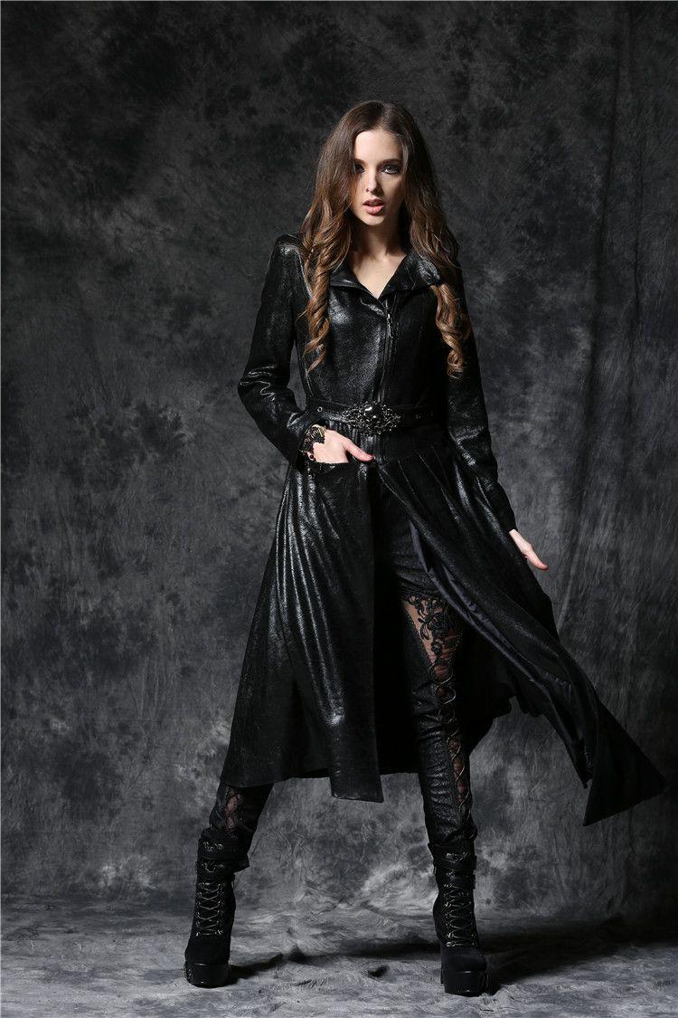 Dark Gothique Vieilli Simili Veste Cuir Love In Femme Longue En qBTxtwtSa