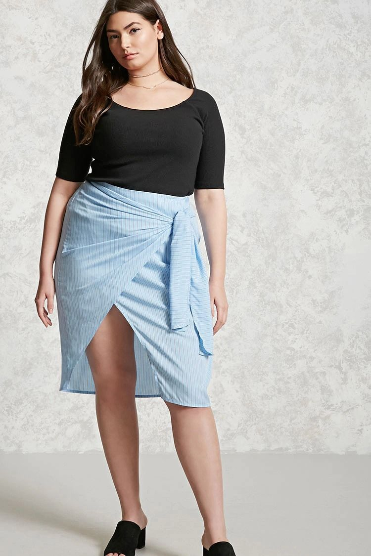 Forever 21+ - A lightweight woven skirt featuring a pinstripe pattern, a wrap style front with self-ties at the side, a trumpet hem, and an invisible side zipper.