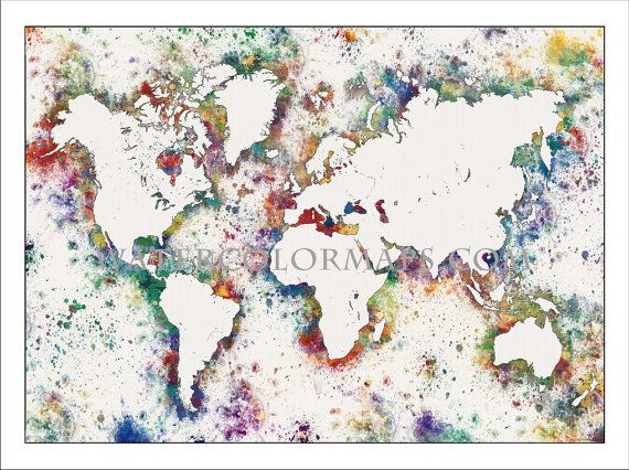 WORLD MAP, Map of the World, World Political Map, Watercolor Map Art - copy world map poster the range