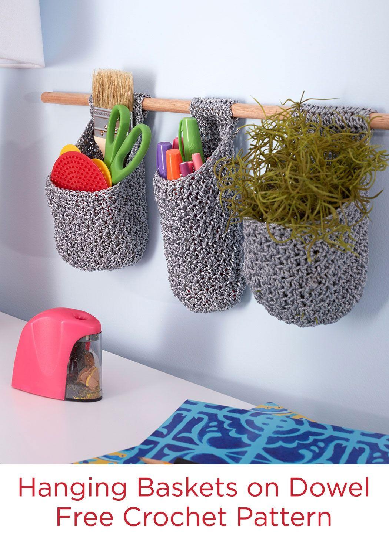 Crochet Hanging Flower Basket Pattern : Hanging Baskets on Dowel Free Crochet Pattern in Red Heart ...