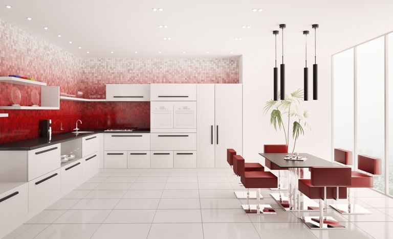 Red And White Mosaic Used As A Background Feature Wall In Kitchen