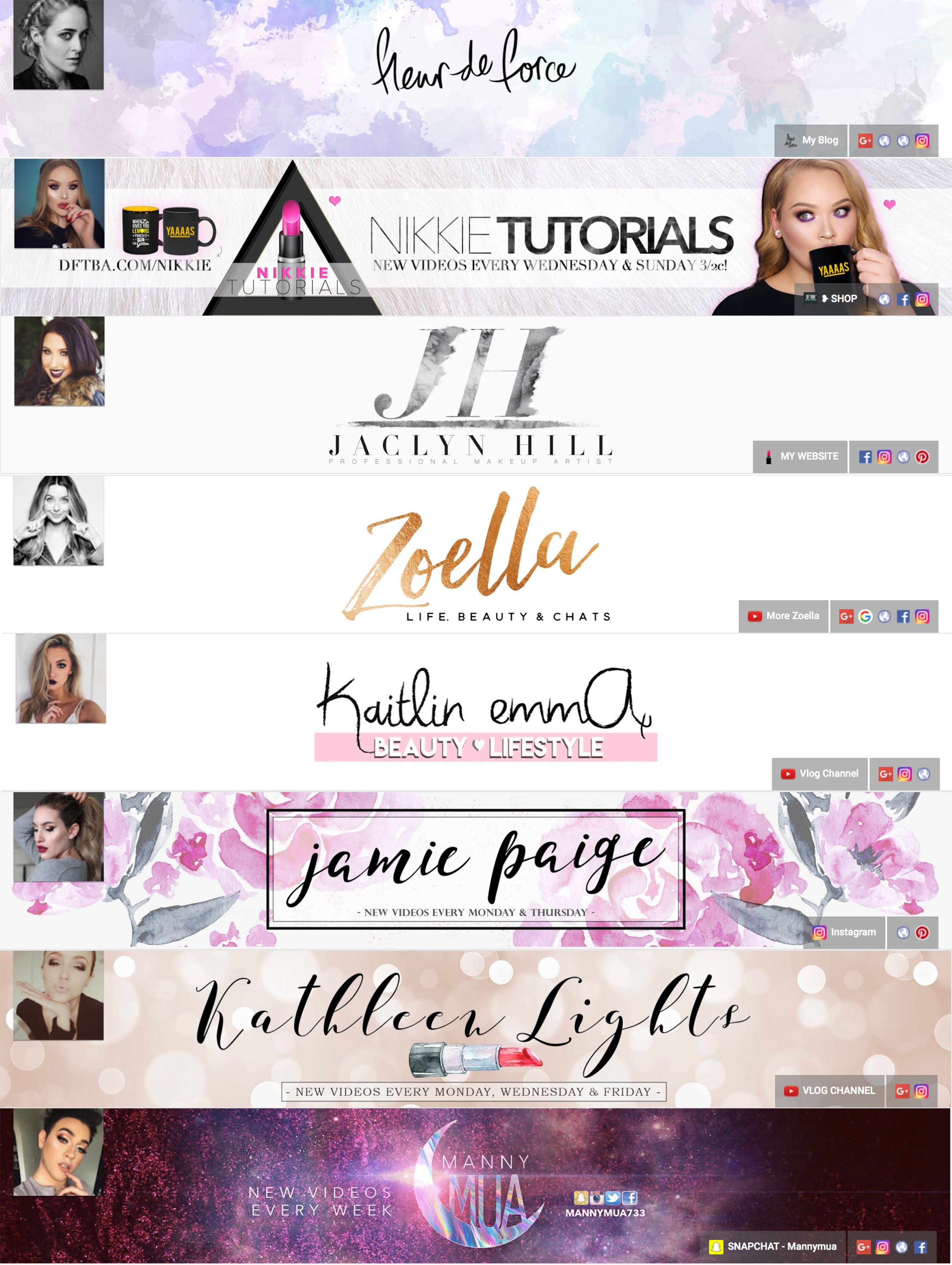 Some Banners Of Popular Youtubers Youtube Banner Backgrounds Youtube Banner Design Youtube Channel Art