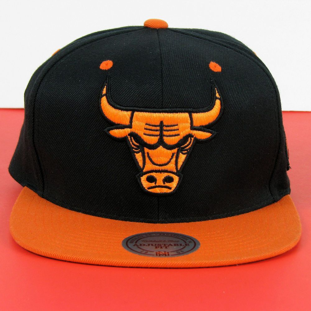 84c2c923eb2 Mitchell   Ness NBA Snapback Chicago Bulls Hat -- Black   Orange  fashion