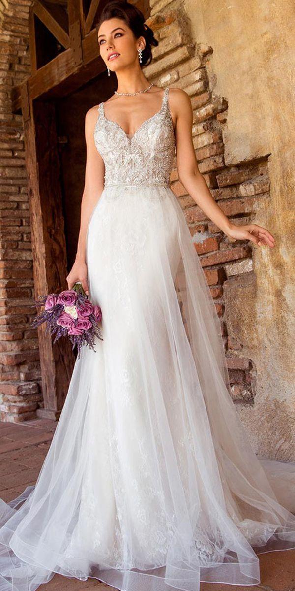 Brilliant Tulle & Lace Vneck Neckline 2 In 1 Wedding