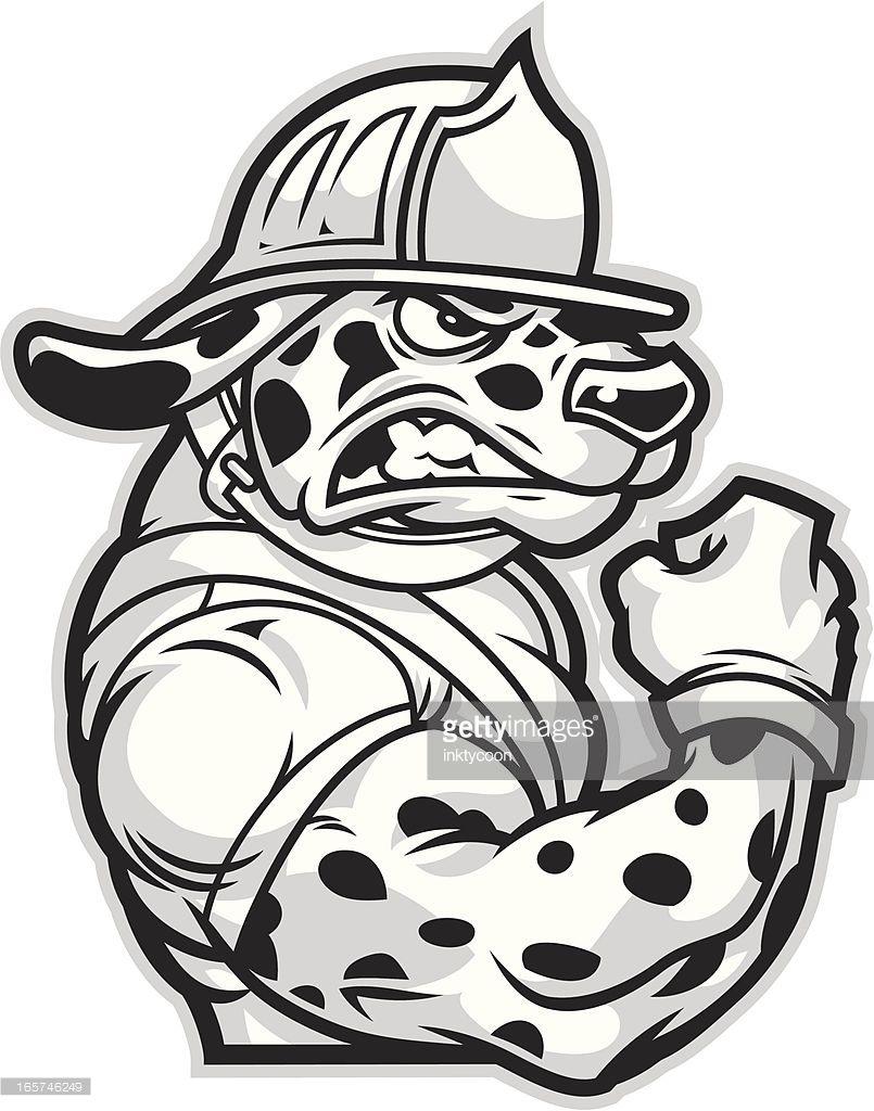 Vector Art Dalmatian Fireman Firefighter Firefighter Tattoo Dalmatian [ 1024 x 805 Pixel ]