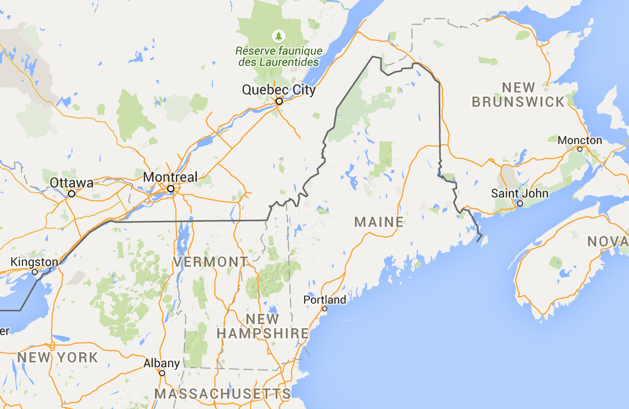 Map Of New York To Quebec Canada.Driving Distance From Portland Me To Quebec City Canada