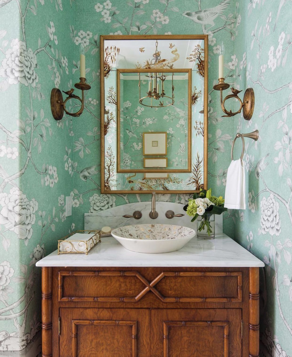 Pin By Soph Isticated Style On Bathrooms Floral Bathroom Powder
