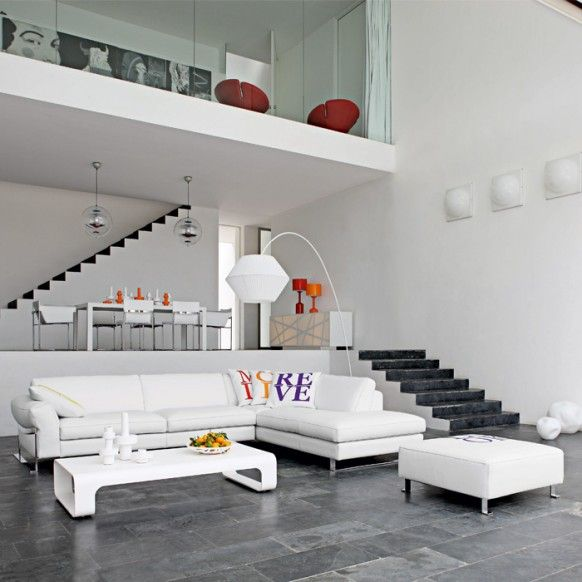 Living room contemporary living room design with sofa by roche bobois spacious loft house living room interior decor furnished by white roche bobois sofa