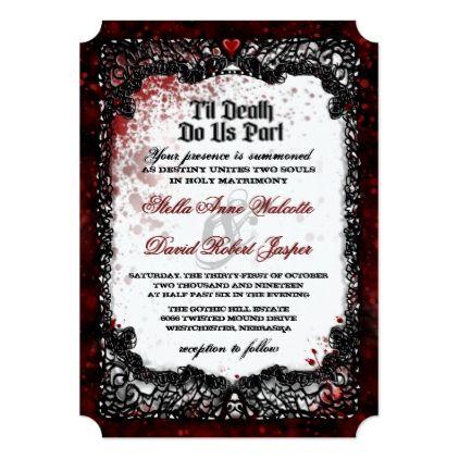 Blood Splattered Halloween Wedding RECEPTION INFO Invitation | Zazzle.com