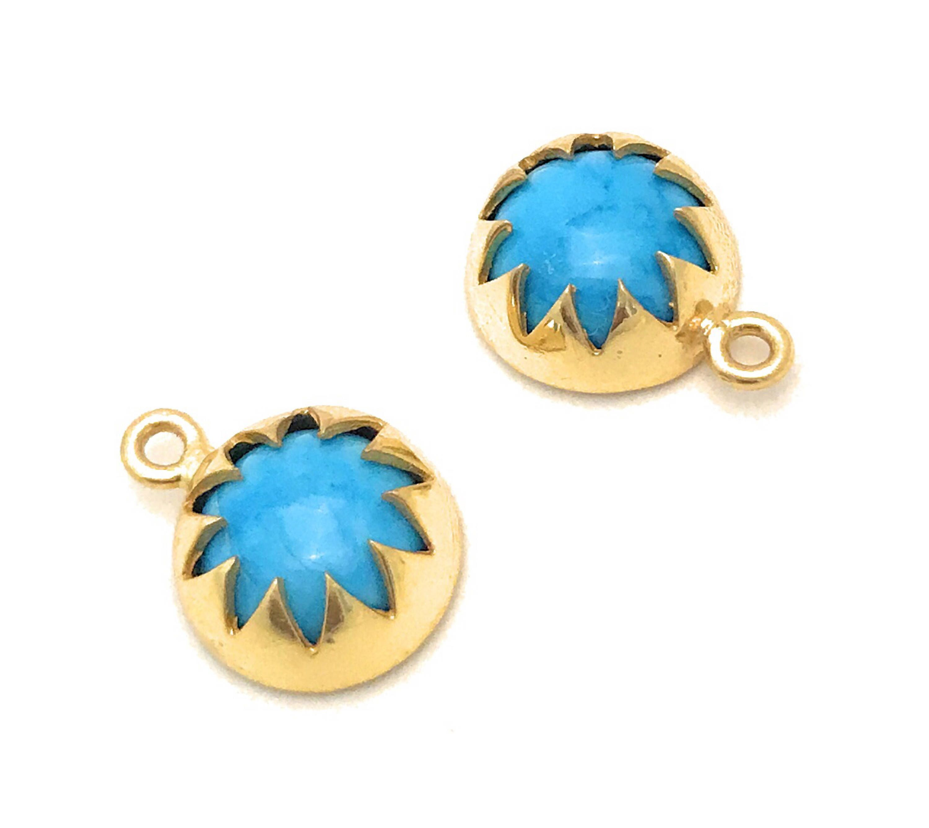 Excited to share the latest addition to my #etsy shop: Turquoise Charms, Gemstone Charms, Gold plated Charms, Bracelet Charms, Jewelry Supplies, Wholesale Charms, Circle Charms, 15.5x12mm 1 Pc