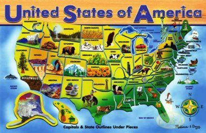 Amazoncom Melissa Doug Deluxe Wooden USA Map Puzzle Floor