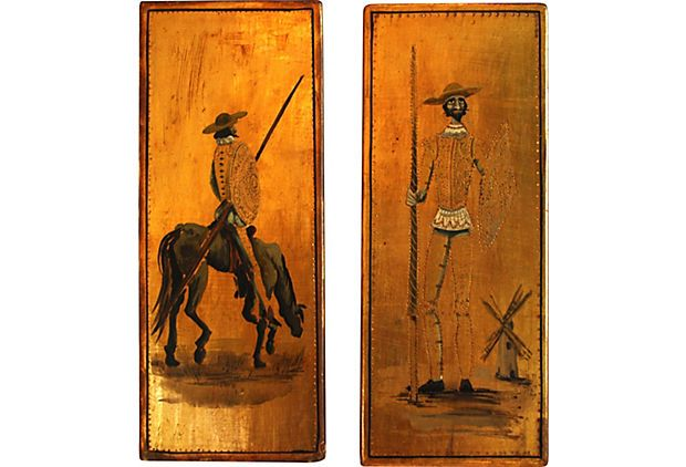 Vintage Don Quixote Panels, Pair