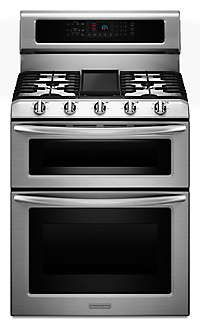 30-Inch, 5-Burner Freestanding Double Oven Range with Even-Heat™ Convection (KDRS505XSS)   kitchenaid® ***My dream oven. Gas burners, double electric oven.