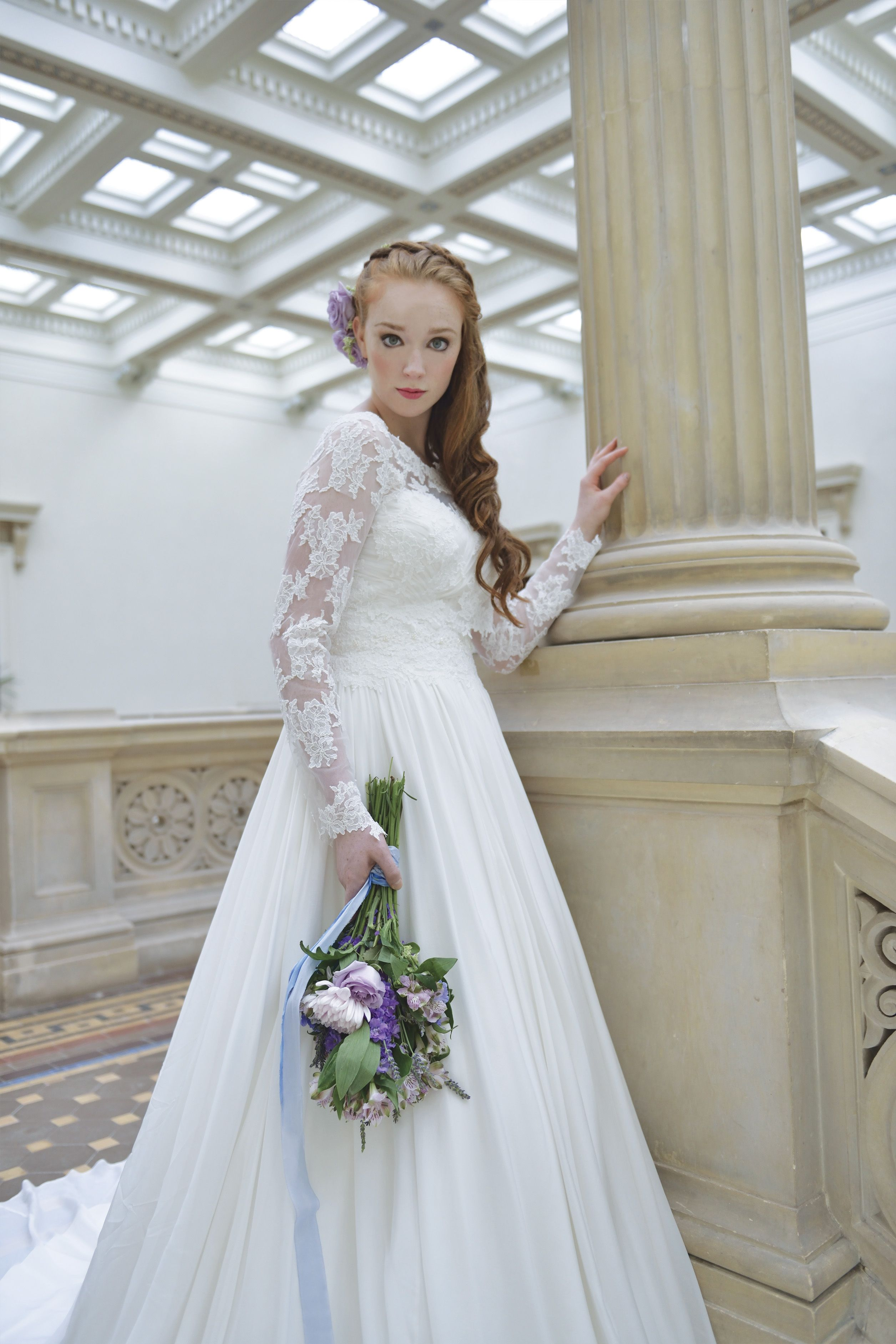 The most elegant silk chiffon wedding gown shown here with a ...