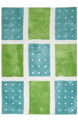 Aqua Blue Green Dots Rug With