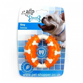 All For Paws Dental Dog Chews Ring Orange Dog Toy All For Paws