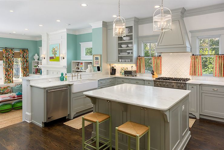 source colordrunk design grey kitchen features grey cabinets paired with white marble countertops and white