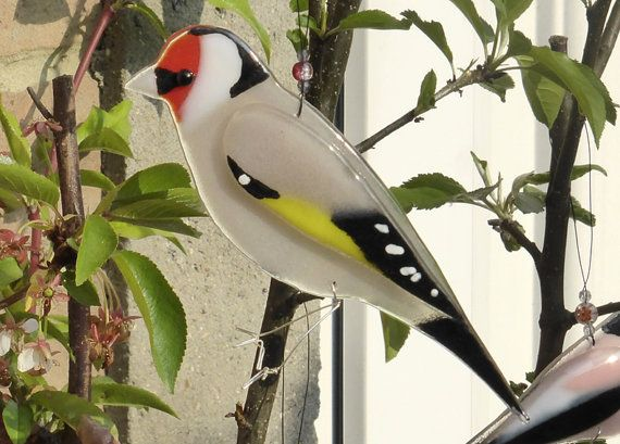 Pair of Hand Finished Metal Goldfinch Garden Bird Ornaments