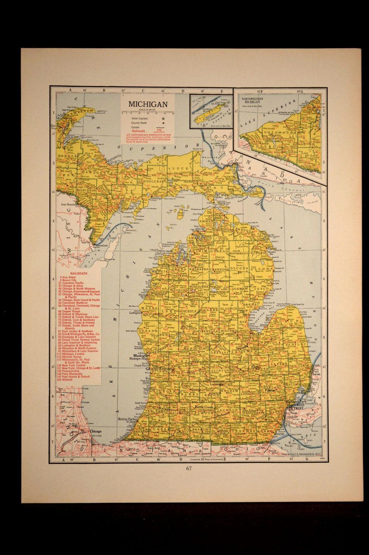 Michigan Map Of Michigan Wall Art Decor Railroad Vintage 1940s