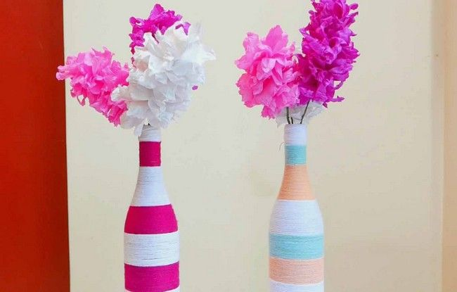 Image result for bottle flower vases images