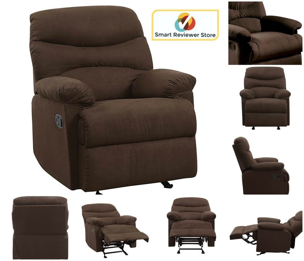 Microfiber rv recliner chair adjustable overstuffed furniture wide arm brown new acme contemporary