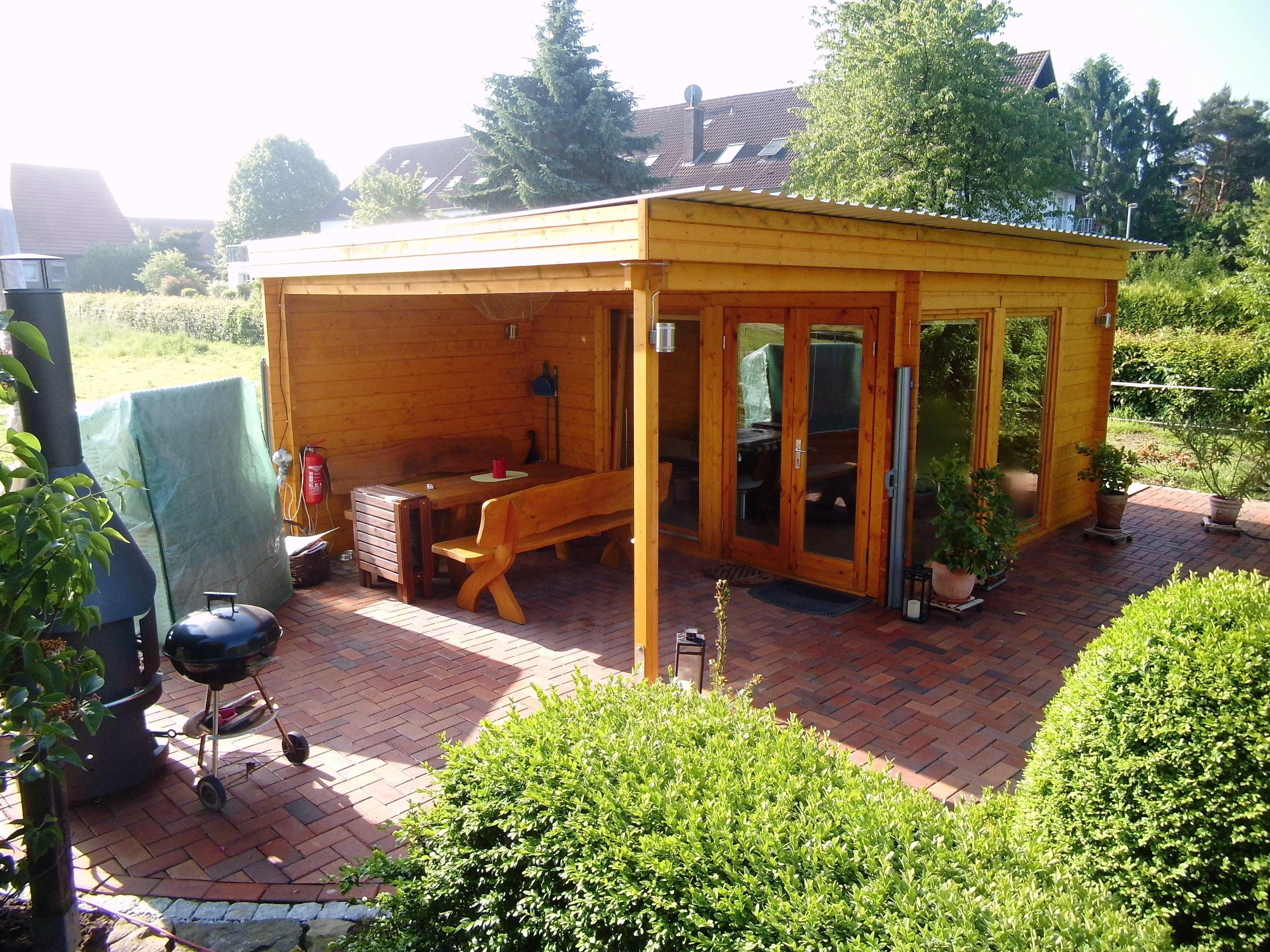 Rustikales Und Modernes Flachdach Gartenhaus Mit Großem