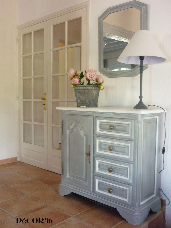meuble bas style Louis XII peint gris, patiné dessus peint et