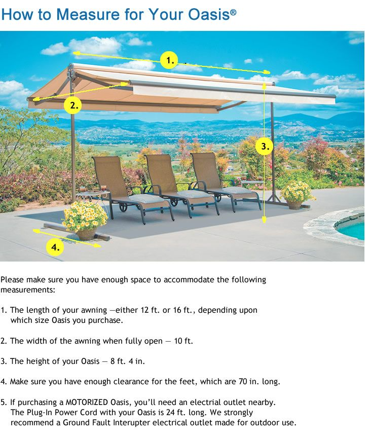 How to Measure for Your Oasis | Oasis, Awning, Free standing