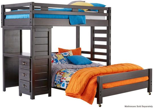 Creekside Twin Full Loft Bed With Desk Charcoal Art Van Furniture Bunk Bed Designs Loft Bed Mattress Furniture