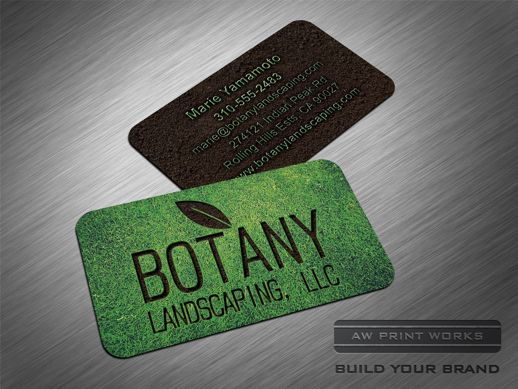 Pin By Aw Print Works On Concepts From Our Design Team Business Cards Creative Card Design Landscaping Business Cards