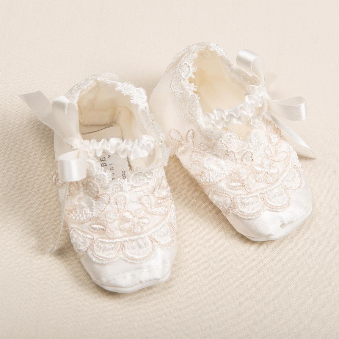 Baby Girl Ivory Silk Christening Shoes