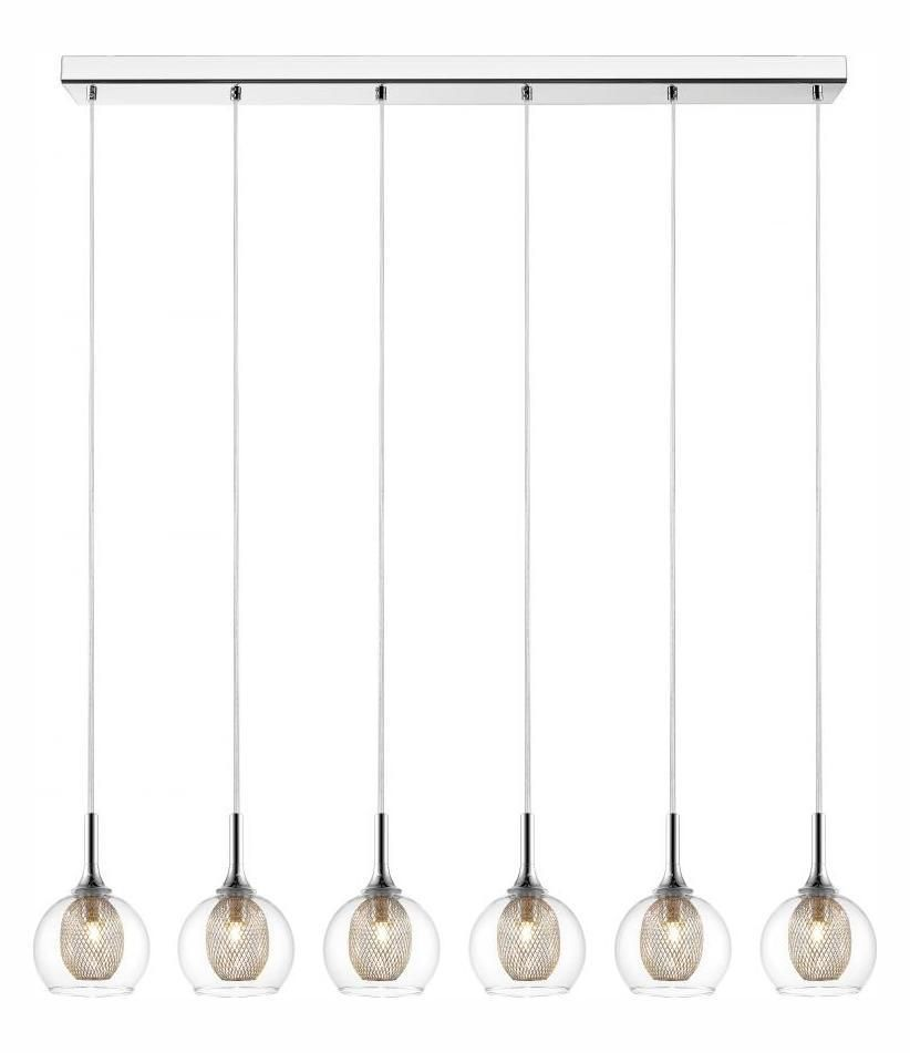 Chrome Auge 6 Light Pendant With Clear And Iron Mesh Glass