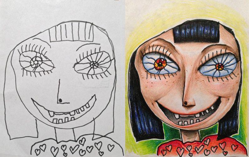 """Coloring my kids art - Tatsputin """"Viaggio per lavoro 10 giorni ogni mese. Quando parto i miei figli mi danno dei disegni che hanno fatto per me. Io li coloro sul aereo e glieli restituisco quando rientro. Niente di che. Ai bimbi piacciono tanto. Mia moglie li vuole appendere. Pensieri?"""