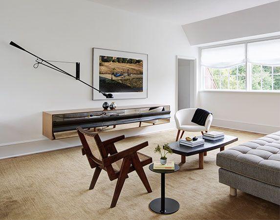 Carol Egan Interiors - Pierre Jeanneret chair, Flos swing light, metal  cabinet