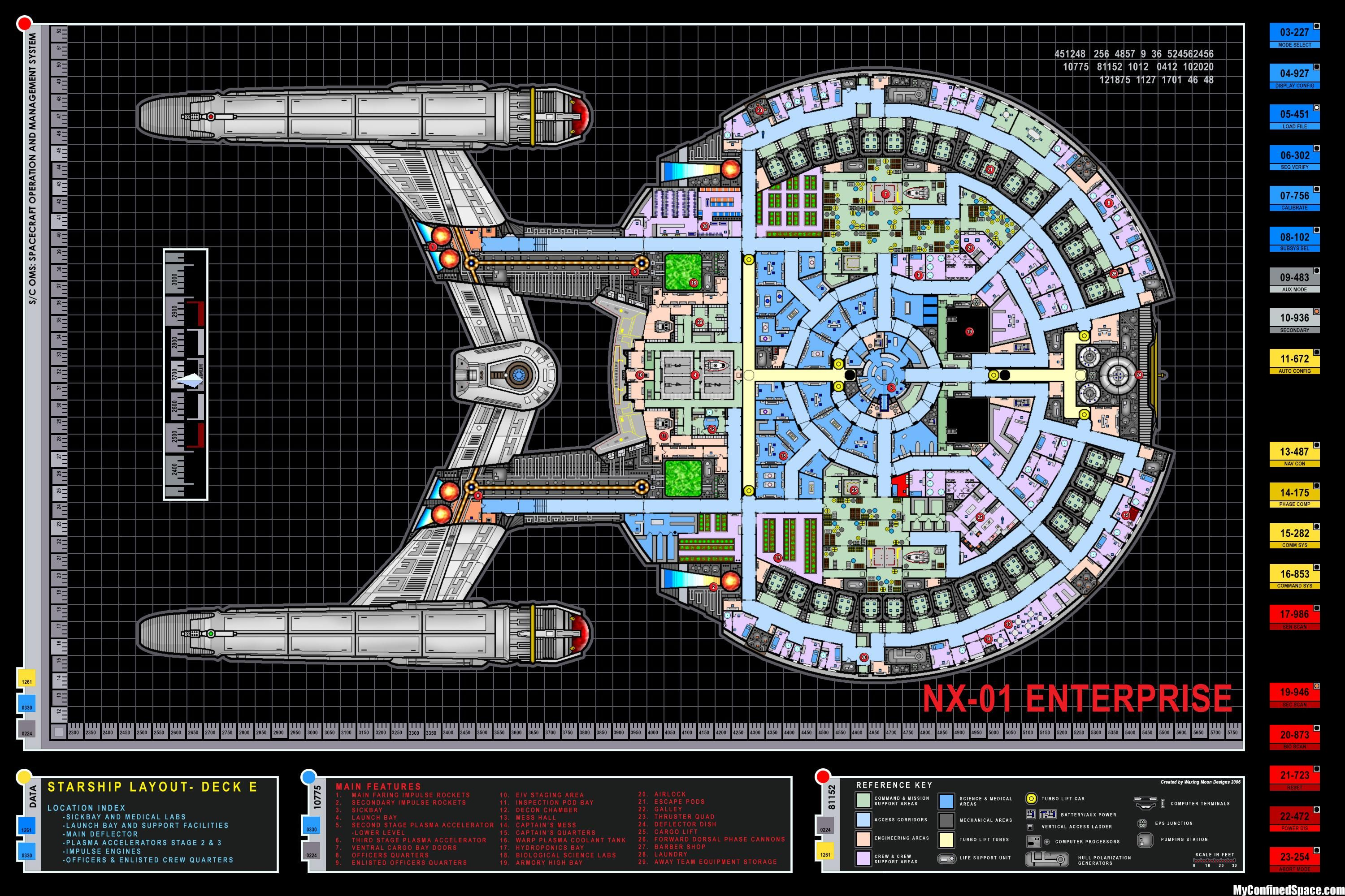 Colored Schematic Of Deck E; Columbia Class Starship; U.S.S. Enterprise NX  01