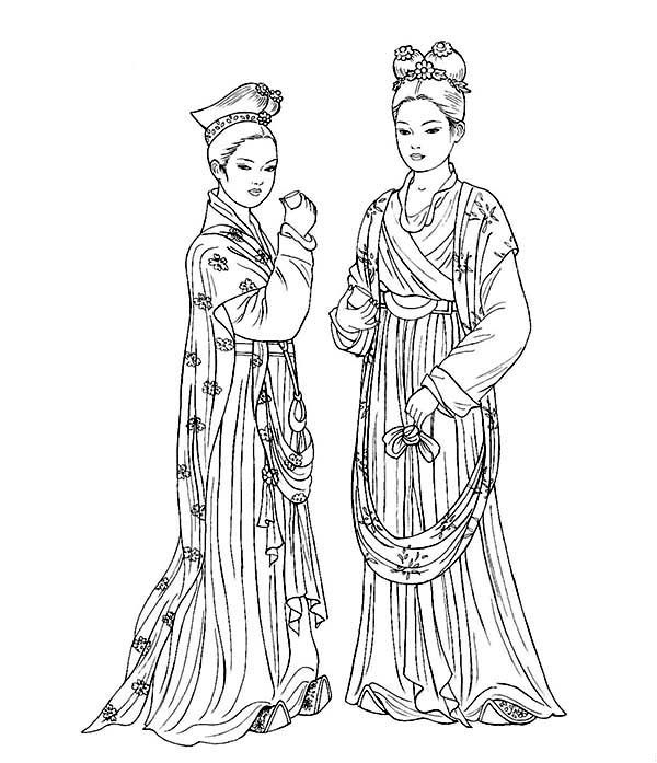Two Beautiful Ladies In Ancient China Gown Coloring Page Japanese Embroidery Coloring Pages Ancient China
