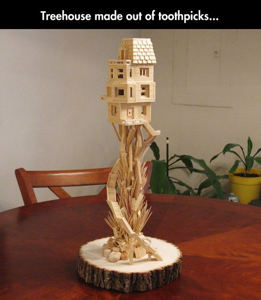 Toothpick treehouse tree houses and craft for How to build a treehouse with sticks