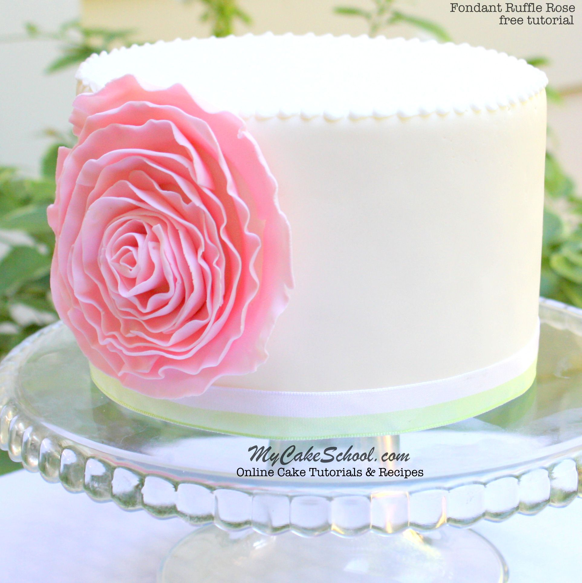 How To Make A Fondant Ruffle Rose Free Cake Tutorial Rose Cake Tutorial Fondant Ruffles Cake Tutorial