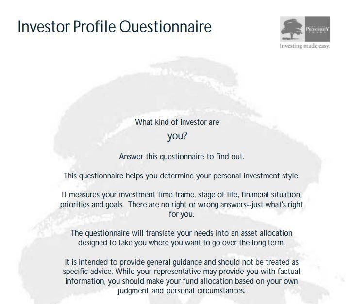 sun life investor profile questionaire