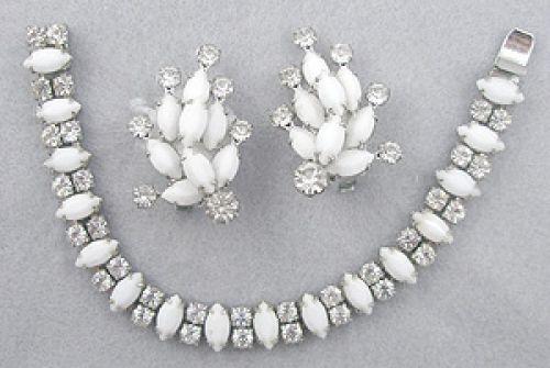 Silvertone Jewelry with Rhinestones Vintage Weiss Milk Glass Brooch