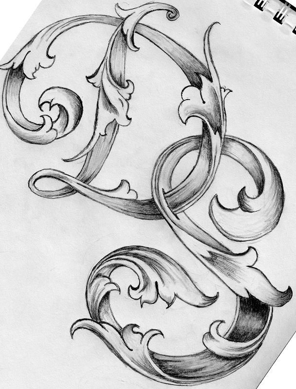 Deviant Art Leaf Script Capitals Embossed Elegance Illustrated