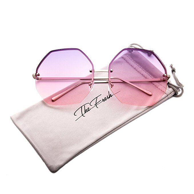 84d6e968d7 The Fresh Fashion Designer Oversize Hexagon Metal frame Ocean Colored Lens  Women Sunglasses with Gift Box (Silver