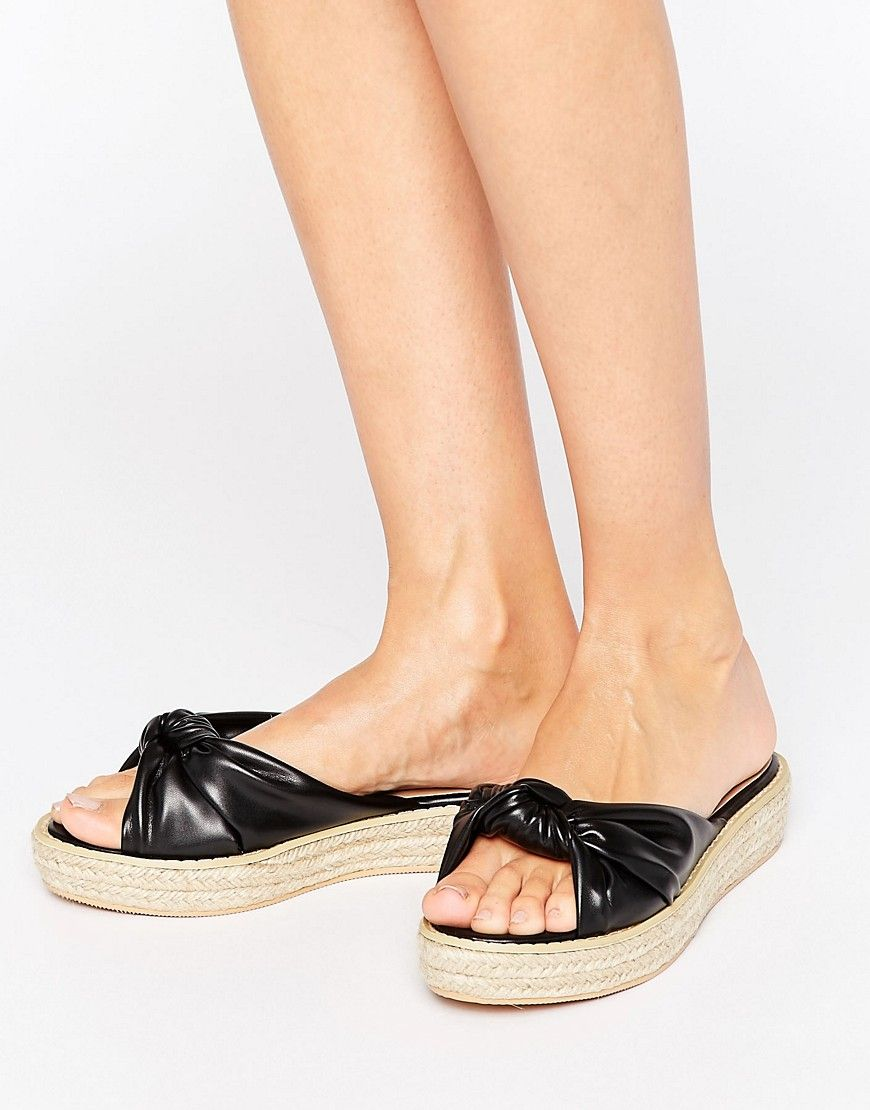 f369b235c1d Buy it now. Missguided Knot Front Slider - Black. Shoes by ...