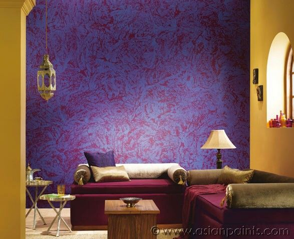 Warm Earthy Tones Work Best For A Traditional Indian Home Combos Of Dark Purple With Yellow E Wall Texture Design Asian Paint Design Asian Paints Wall Designs